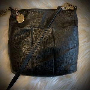 Tommy Hilfiger Pebbled Black Leather Crossbody Bag